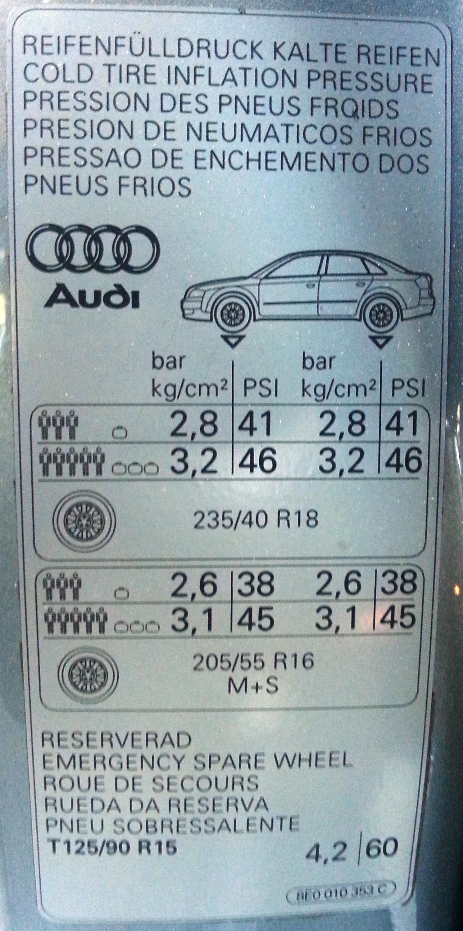 Audi Tyre Pressures0002 Jpg Pressures Door Shut