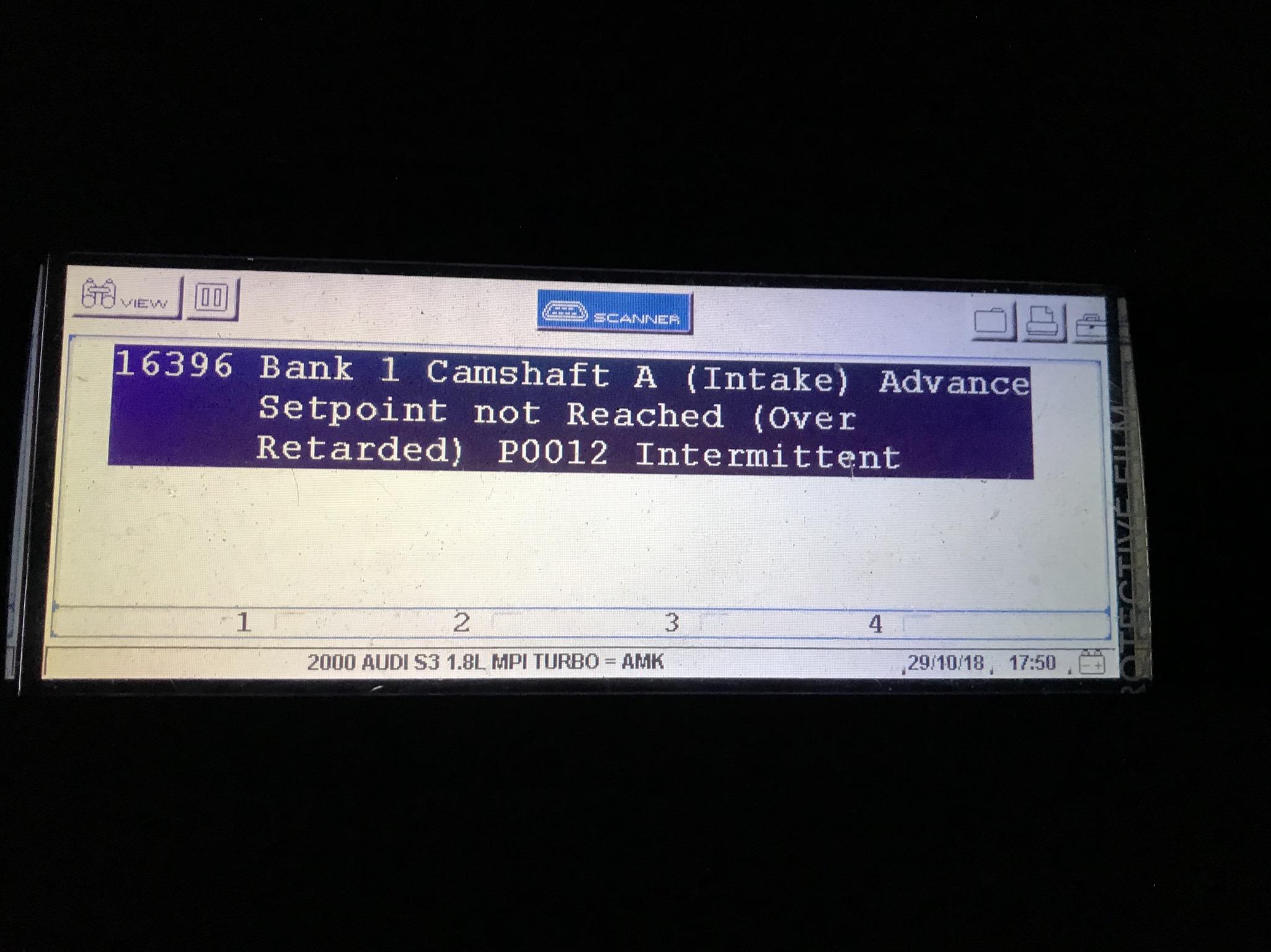 S3 8L camshaft fault P1340 &P0012 advice? | Audi-Sport net