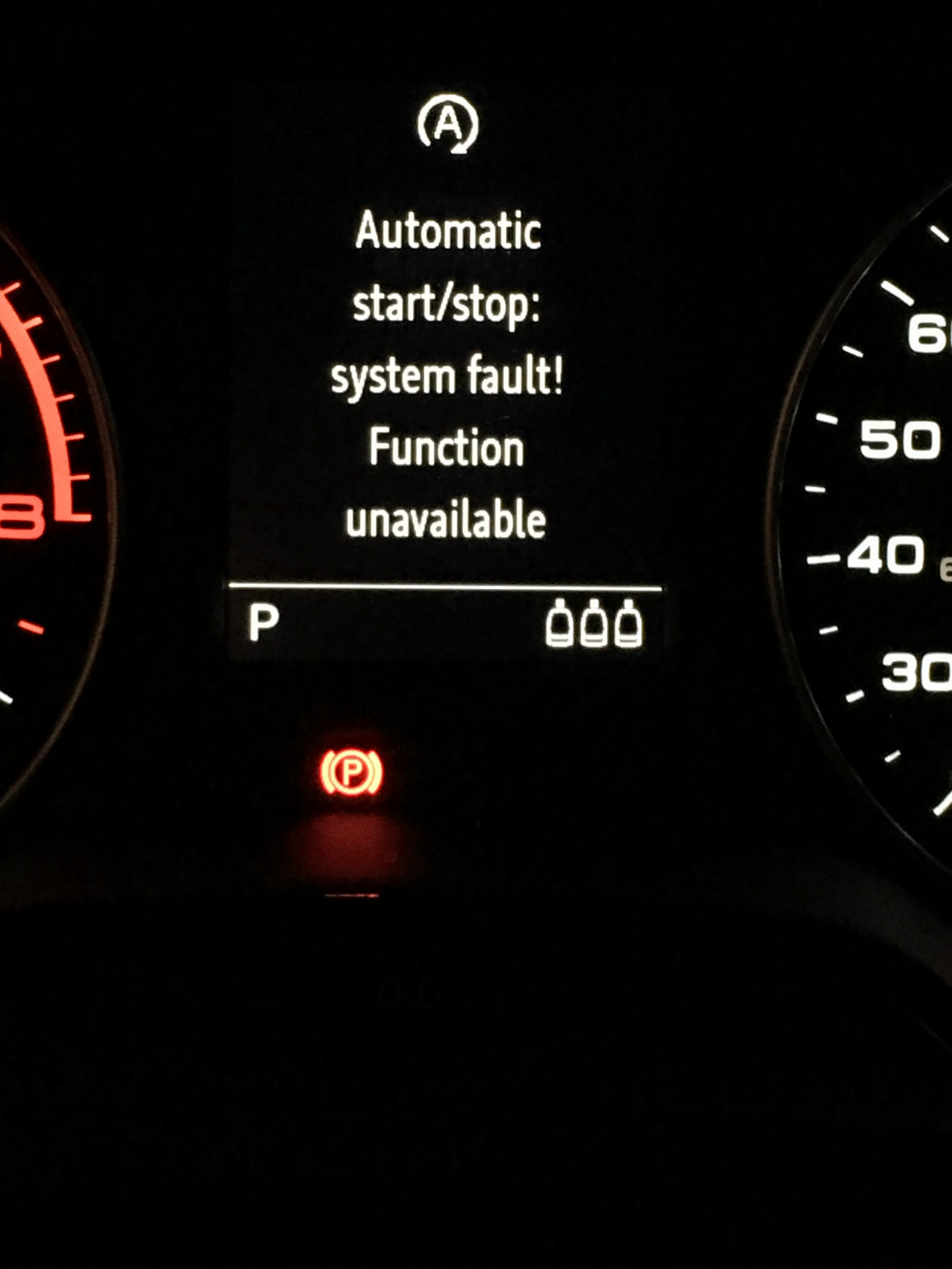 Automatic start/stop: system fault! Function unavailable