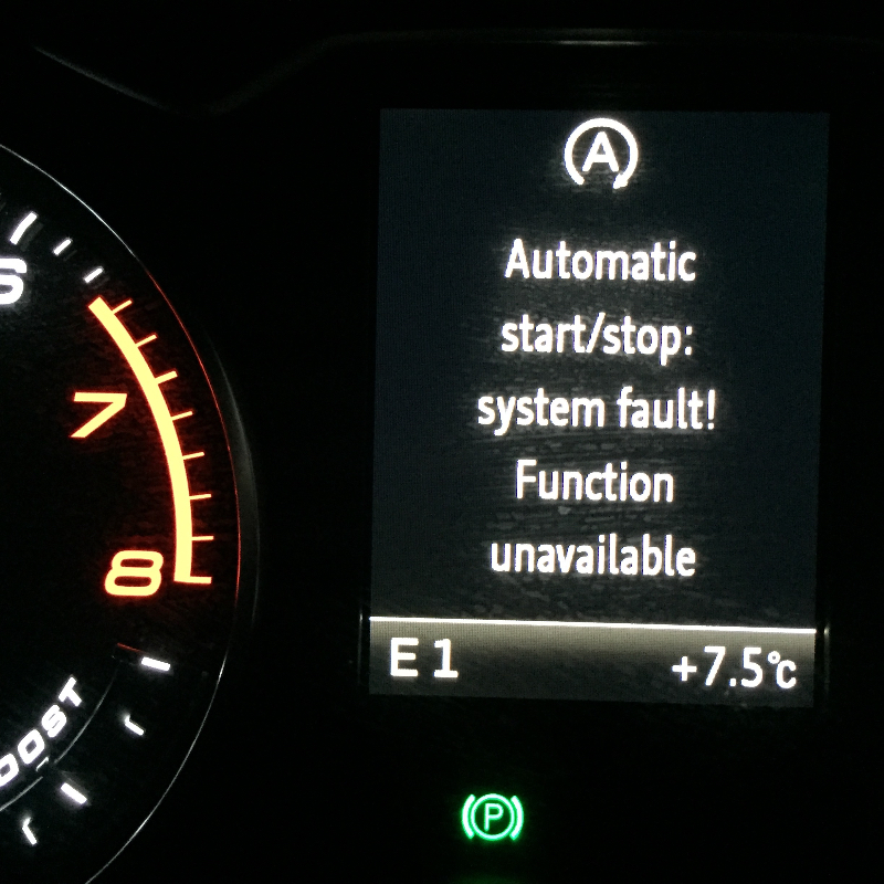 Automatic start/stop: system fault! Function unavailable ...