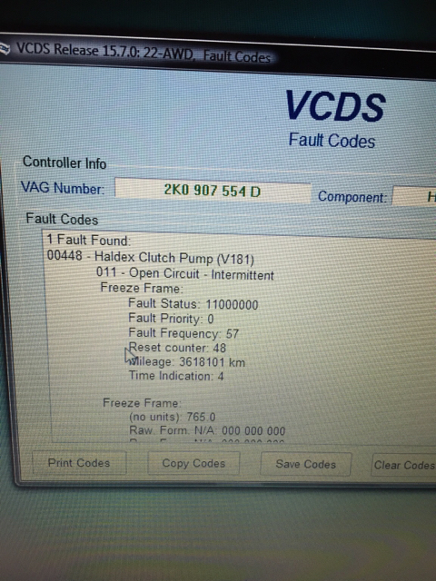New car - VCDS scan revealed several codes | Audi-Sport net