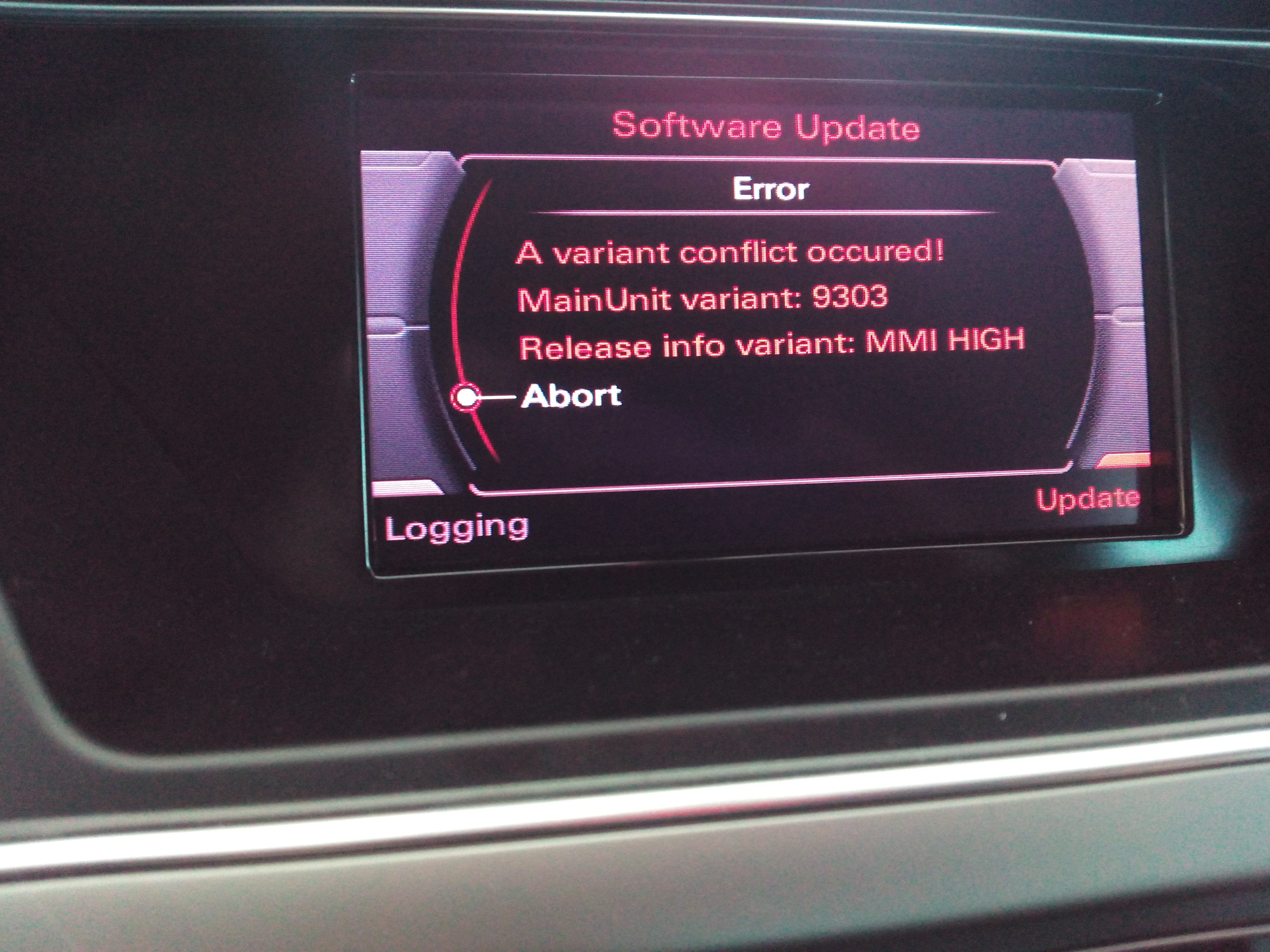Error Updating MMI To Variant Conflit AudiSportnet - Audi mmi update