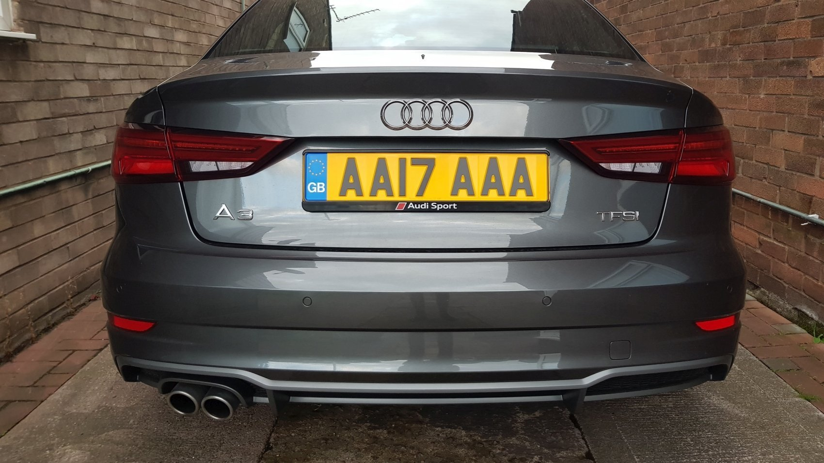 NEW PAIR BLACK NUMBER PLATE SURROUNDS HOLDER FRAME FOR ANY AUDI S LINE