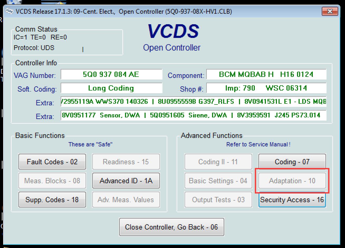 VCDS issues 'Adaptation - 10' | Audi-Sport net