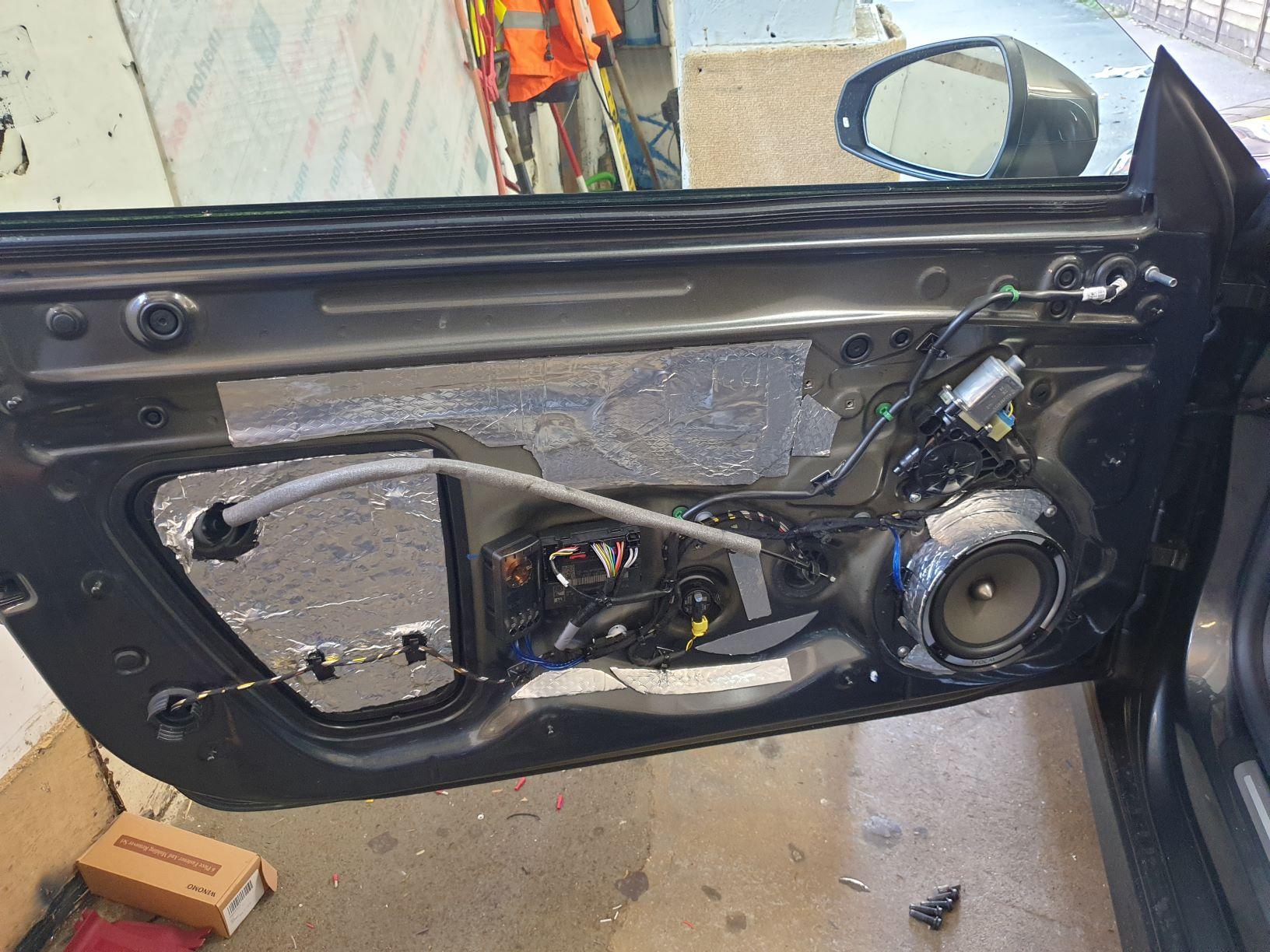 Speaker install in doors showing sound deadening.jpg
