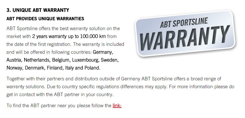 Mr JWW ABT Tuning Audi Warranty Safe AudiSportnet - Audi warranty