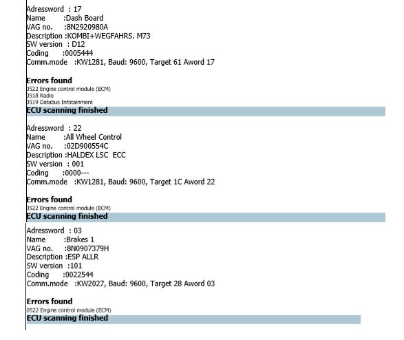 Any help for a 0522 ECU Communications Errors | Audi-Sport net